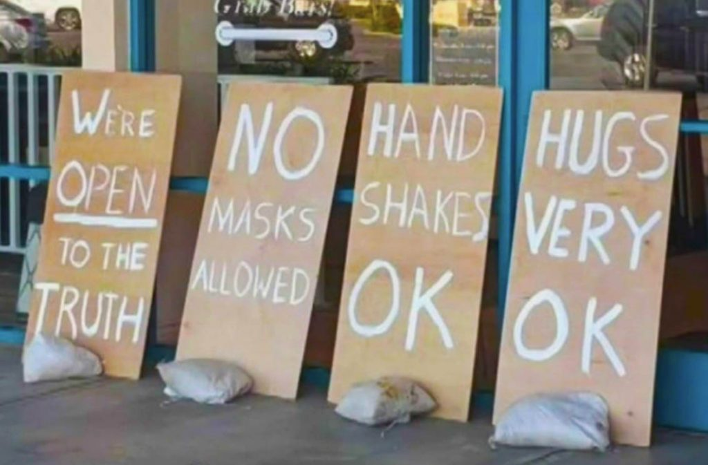 signs outside store in USA